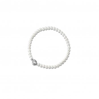 Ti Sento Shell Pearl and Cubic Zirconia Elasticated Silver Bracelet