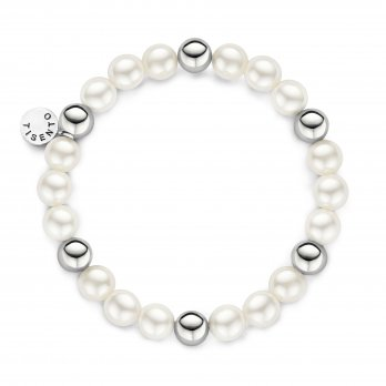 Ti Sento Shell Pearl Elasticated Silver Bracelet