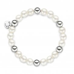 Shell Pearl Elasticated Silver Bracelet