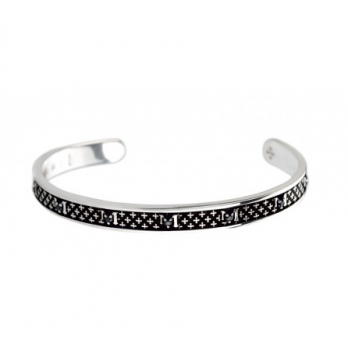 Tuum Jewellery BRACELET DECEM IN BURNISHED SILVER WITH BLACK SPINELS SIZE LARGE