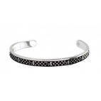 BRACELET DECEM IN BURNISHED SILVER WITH BLACK SPINELS SIZE LARGE