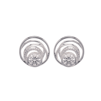 Unique & Co Multi Circle Silver stud earrings with Cubic Zirconia