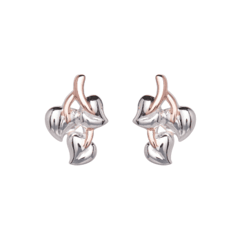 Unique & Co Rose Gold Plated and Silver Leaf stud earrings