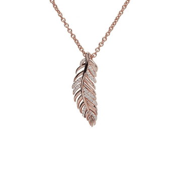 Unique & Co Rose Gold Plated Silver and Cubic Zirconia feather necklace