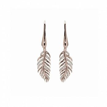 Unique & Co Rose Gold Plated Silver feather earring with Cubic Zirconia
