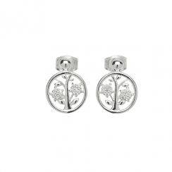 Unique & Co Silver and Cubic Zirconia Tree of Life earrings