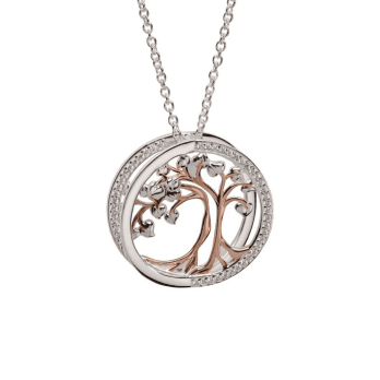 Unique & Co Silver and Rose Gold Tree of Life necklace set with Cubic Zirconia