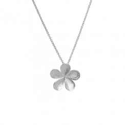 Unique & Co silver flower necklace with cubic zirconia