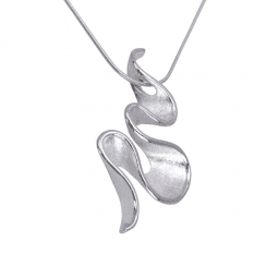 Unique & Co Silver Squiggle necklace on Silver Snake chain
