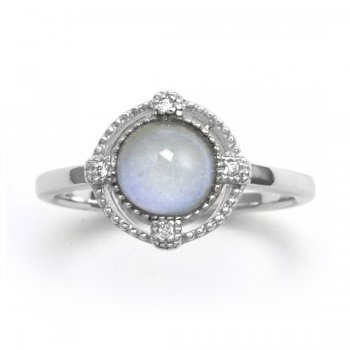 V Jewellery Brilliance Blue Chalcedony Silver Ring