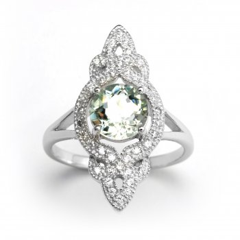 V Jewellery Brilliance Entwine Green Amethyst Silver Ring
