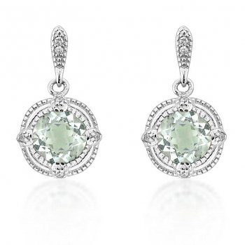 V Jewellery Brilliance Green Amethyst Silver Drop Earrings