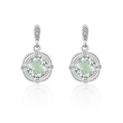 Brilliance Green Amethyst Silver Drop Earrings