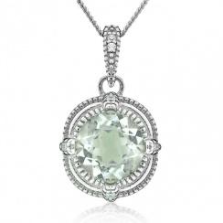 Brilliance Green Amethyst Silver Pendant