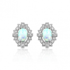 Deco Empire Silver Stud Earrings