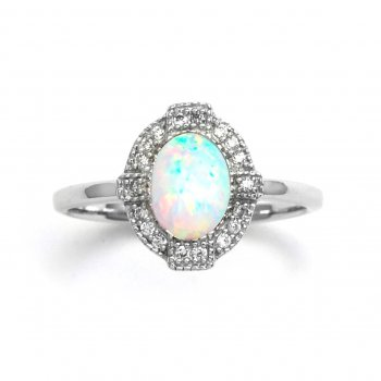 Deco Empire Synthetic Opal Silver Ring