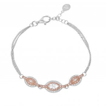 V Jewellery Marquise Rose Gold Plated Silver Bracelet