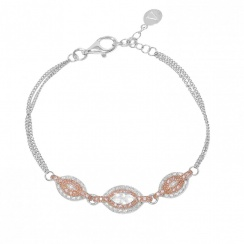 Marquise Rose Gold Plated Silver Bracelet