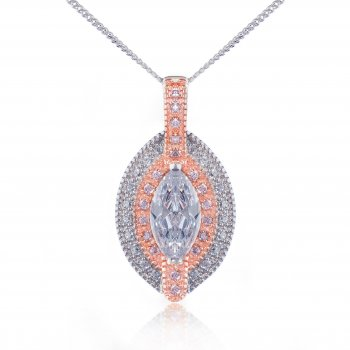 V Jewellery Marquise Rose Gold Plated Silver Pendant