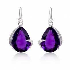 Mythos Claw Amethyst Silver Drop Earrings
