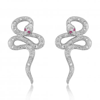 V Jewellery Mythos Serpent Silver Stud Earrings