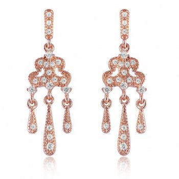 V Jewellery Romance Lorelei Rose Gold Plated Silver Drop Earrings