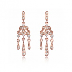 Romance Lorelei Rose Gold Plated Silver Drop Earrings