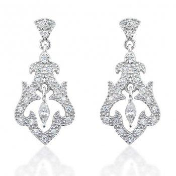 V Jewellery Romance Rai Silver Drop Earrings