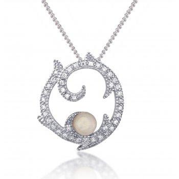 V Jewellery Romance Rose Quartz Silver Pendant