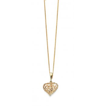 Wire Heart 9ct Yellow Gold Pendant