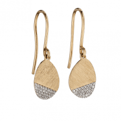 Yellow Gold and Diamond Scratch Effect Earrings by Elements Gold