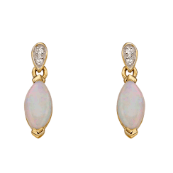 Yellow Gold Earrings with Opal and Diamonds by Elements Gold.