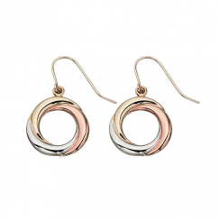 Yellow, White and Rose Gold Drop Earrings by Elements Gold